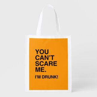 YOU CAN T SCARE ME I M DRUNK - Halloween - png Reusable Grocery Bags