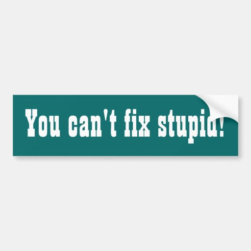 You can't fix stupid! Funny bumpersticker Bumper Sticker