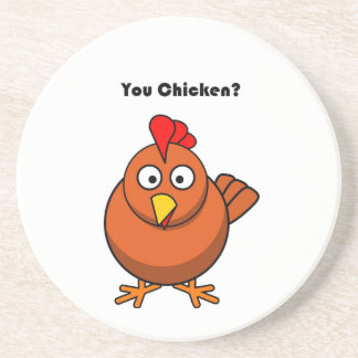 You Chicken? Brown Hen Rooster Cartoon Coaster