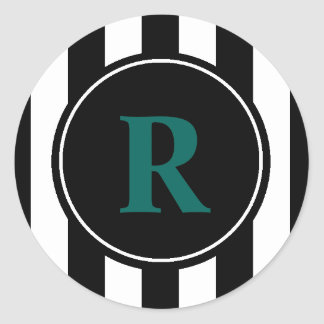 You choose background & black stripes monogram classic round sticker