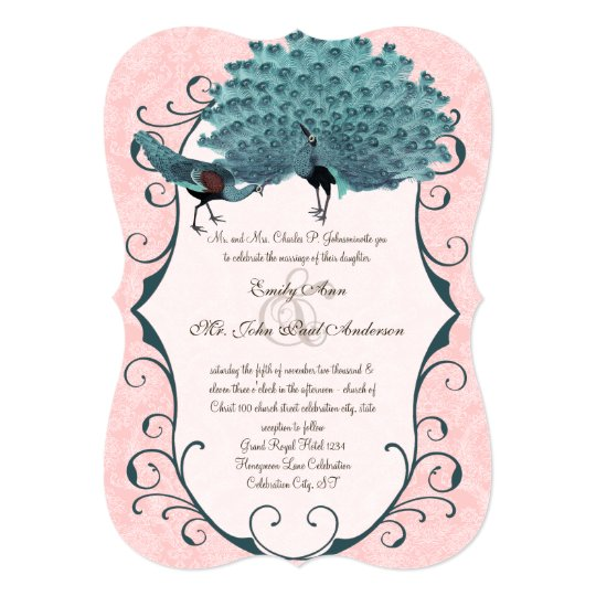 You Choose Background Colour -Damask Peacock Card