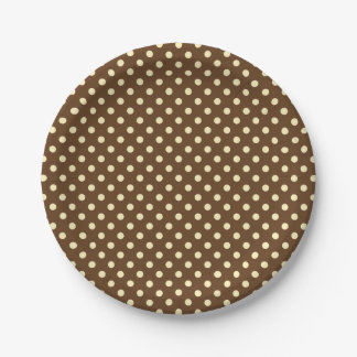 You Choose the Background Color & beige polka dots 7 Inch Paper Plate