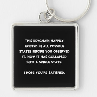 You collapsed it! Quantum Physics Humor Silver-Colored Square Key Ring