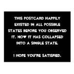 You collapsed it! Quantum Physics Humour Postcard
