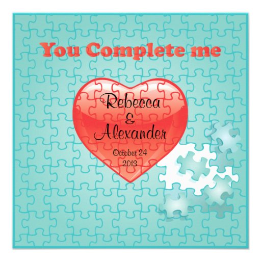 You complete me jigsaw puzzle wedding Invitations