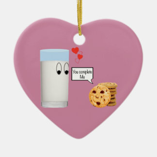 You Complete Me milk and cookies Ceramic Heart Decoration