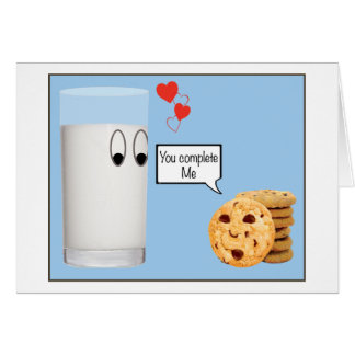You Complete Me milk and cookies Greeting Card