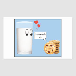 You Complete Me milk and cookies Rectangular Sticker
