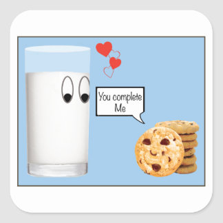 You Complete Me milk and cookies Square Sticker