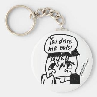 You Drive Me Nuts Keychain -White
