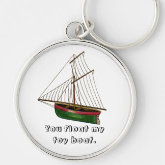 You float my toy boat. Silver-Colored round key ring