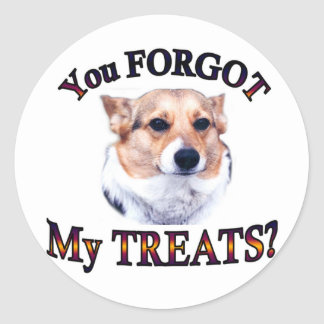 You FORGOT my treats Classic Round Sticker
