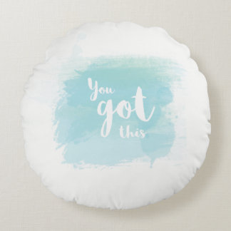 You got this blue calligraphy watercolor pillow