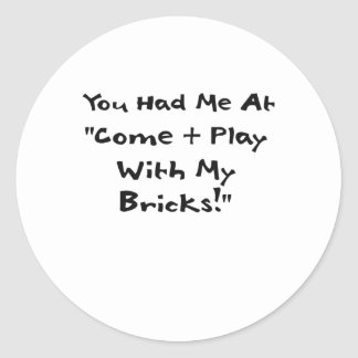You Had Me at Come & Play with My Bricks Stickers