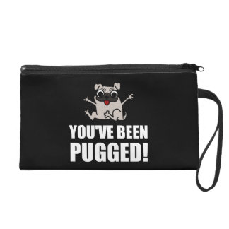 You Have Been Pugged White Wristlet Purse