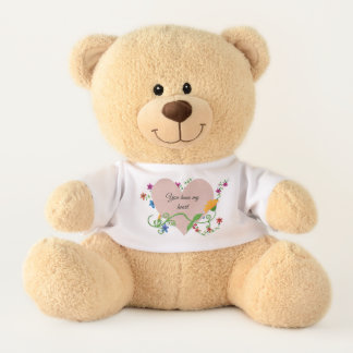 """You have my heart"" Pink Heart and Yellow flower Teddy Bear"