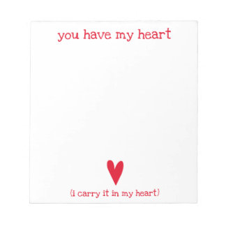 You have my heart | Poem by E.E. Cummings Notepad