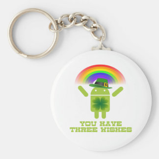 You Have Three Wishes (Android Bugdroid Rainbow) Basic Round Button Key Ring