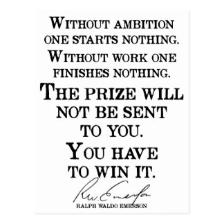 'You have to win it' Emerson Quote Motivational Postcard