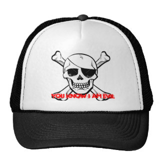 """You know I am evil"" skull hat. Cap"