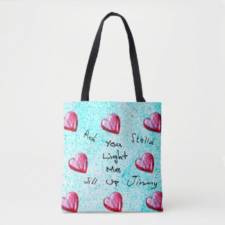 """""""You Light Me Up"""" Design With Customisable Names Tote Bag"""