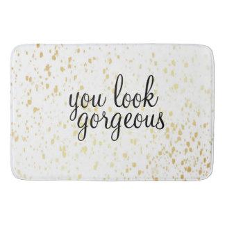 'You Look Gorgeous' Large Bath Mat Gold
