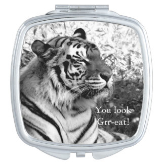 You Look Grr-eat! Tiger in Black and White Vanity Mirrors
