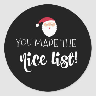 You Made the Nice List Sticker Label