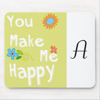 You make me happy Typography - Lime Green Mousepad