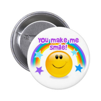 you make me smile! 6 cm round badge