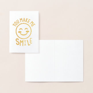 You Make Me Smile Emoji Notecards Foil Card