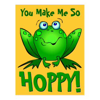 You Make Me So Hoppy Cute Cartoon Frog Orange Postcard