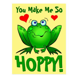 You Make Me So Hoppy Cute Cartoon Frog with Hearts Postcard
