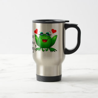 You Make Me So Hoppy Green Happy Frogs Red Hearts Travel Mug