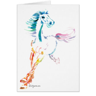 You Make My Heart Gallop- Rainbow Romping Horse Greeting Card