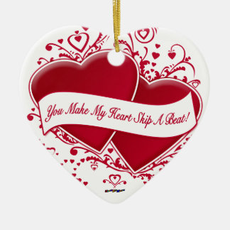 You Make My Heart Skip A Beat! Red Hearts Christmas Ornaments