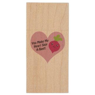 You Make My Heart Skip A Beet Wood USB 2.0 Flash Drive