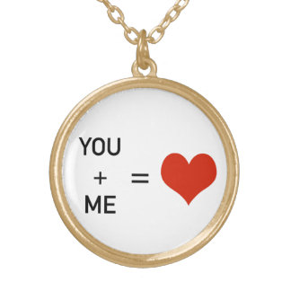 You & Me = Love Gold Plated Necklace