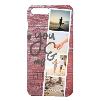 You & Me. Photo Collage of Memories. Red Wood. iPhone 8 Plus/7 Plus Case