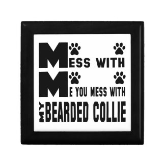 You mess with my Bearded Collie Small Square Gift Box