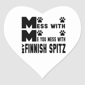 You mess with my Finnish Spitz Heart Sticker