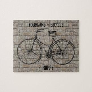 You Plus Bicycle Equals Happy Antique Bricks Gray Puzzle