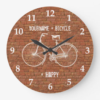 You Plus Bicycle Equals Happy Antique Red Bricks Clocks