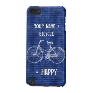 You Plus Bicycle Equals Happy Antique Stripes Blue iPod Touch (5th Generation) Cover