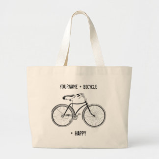 You Plus Bicycle Equals Happy Antique Wheels Bike Canvas Bags