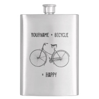 You Plus Bicycle Equals Happy Antique Wheels Bike Hip Flask