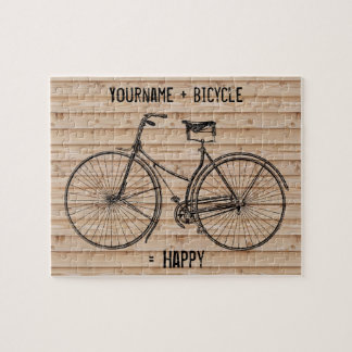 You Plus Bicycle Equals Happy Antique Wood Beige Jigsaw Puzzle