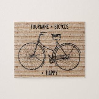 You Plus Bicycle Equals Happy Antique Wood Beige Puzzle