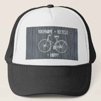 You Plus Bicycle Equals Happy Antique Wood Grey Trucker Hat