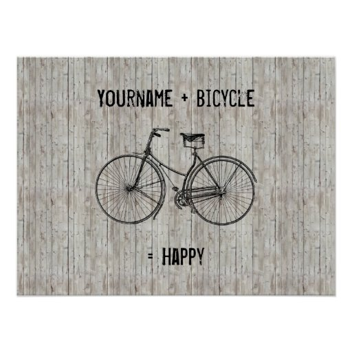 You Plus Bicycle Equals Happy Antique Wooden Plank Posters